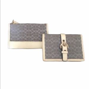 COACH Blue & White Card Holder & Change Purse Set